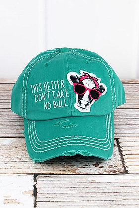 Distressed Turquoise This Heifer Don't Take No Bull Cap