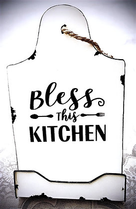 "Tin ""Bless This Kitchen"" Tabletop Recipe Holder"