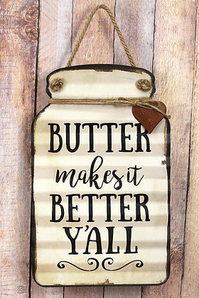 16 x 10 Butter Makes It Better Tin Mason Jar With Heart Wall Sign