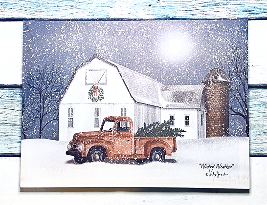Wintry Weather Red Truck Canvas