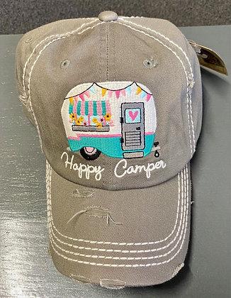 Distressed Steel Gray 'Happy Camper' Cap
