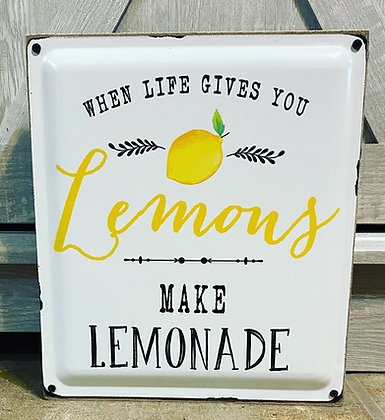 When Life Gives You Lemons Wood And Enamel Box Sign