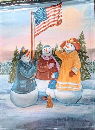 Patriotic Snowmen Garden Flag