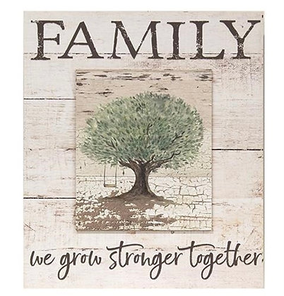 FAMILY- WE GROW STRONGER TOGETHER WOOD SIGN