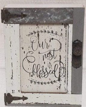 Our Nest Is Blessed Wood Barn Door Sign