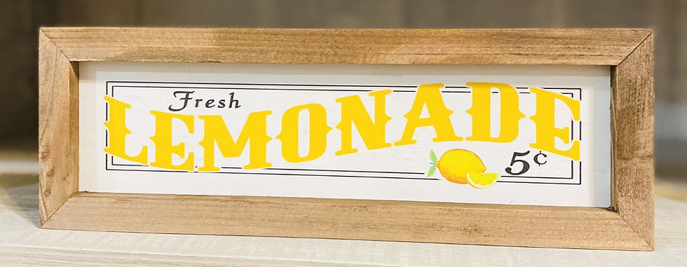 Fresh Lemonade Wood Framed Sign