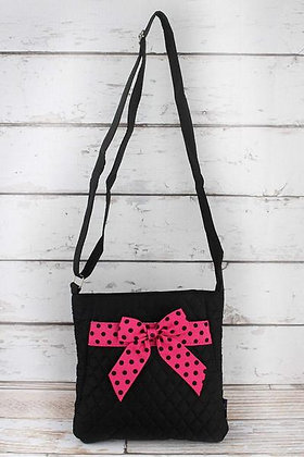 NGIL Black and Hot Pink Quilted Crossbody Bag