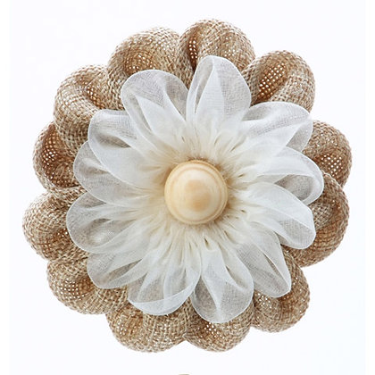 BURLAP AND RIBBON FLOWER with ELASTIC BAND and WOOD BUTTON CENTER