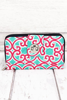 NGIL Moroccan Swirl with Navy Trim Quilted Organizer Clutch Wallet