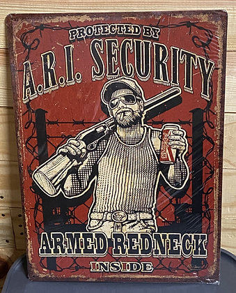 Armed Redneck Inside Tin Sign