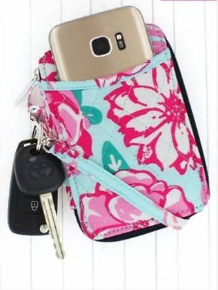 NGIL Pocket Full Of Posies With Navy Trim Quilted Wristlet