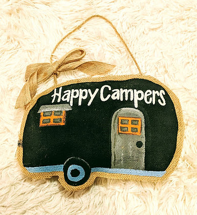 Happy Campers Burlap Wall Hanging