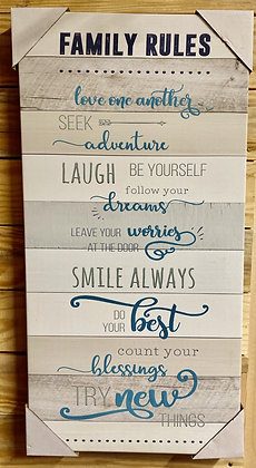 Family Rules Canvas Wall Hanging