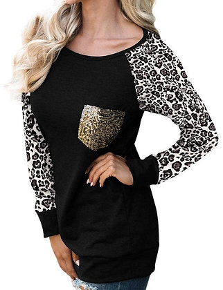 Black Leopard Print with Sequin Pocket Pull Over