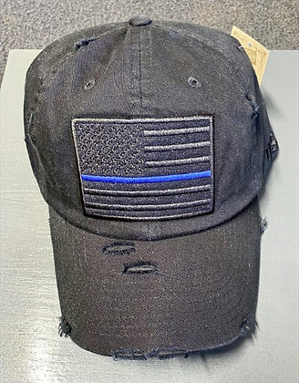 Distressed Black Subdued Flag with Blue Stripe Tactical Operator Cap
