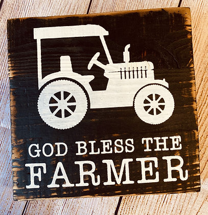 God Bless The Farmer Wood Box Sign