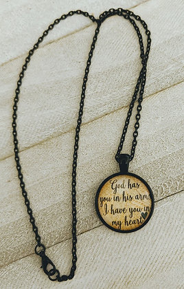 God Has You In His Arms Memory Necklace BLACK