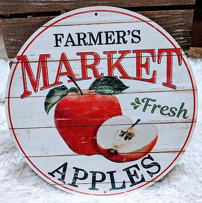 Farmer's Market Fresh Apples Tin Sign