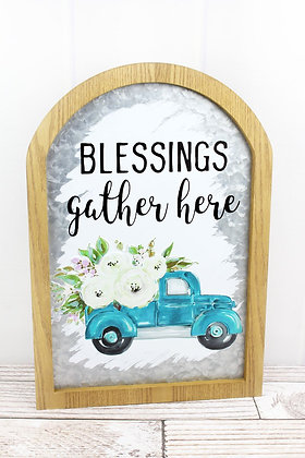 19.25 x 13.25 Blessings Framed Metal Arched Wall Sign