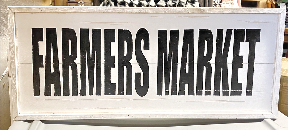 Farmers Market Black and White Wood Sign