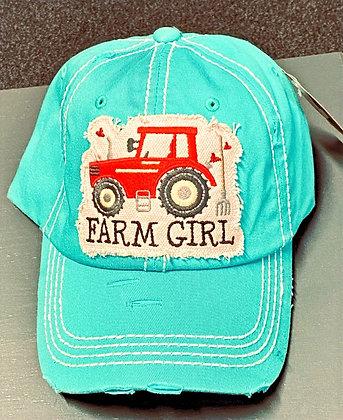 Distressed Turquoise 'Farm Girl' Cap
