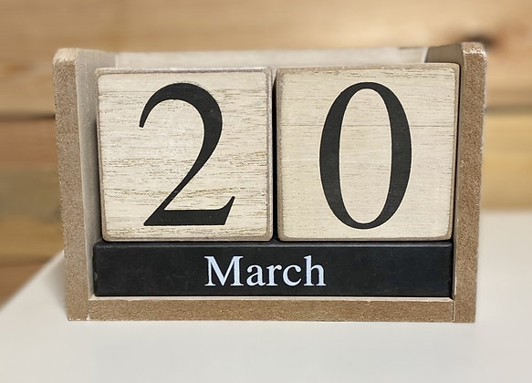 White Washed Block Decorative Calendar