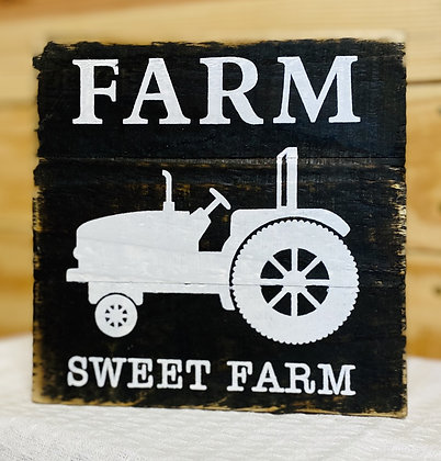 Farm Sweet Farm Wood Box Sign