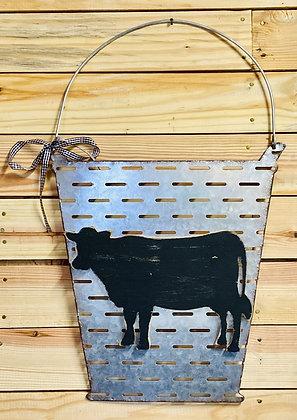 Tin Cow Bucket Wall Sign
