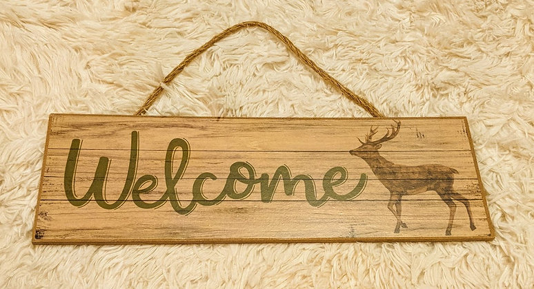 Welcome wooden sign with deer  **Sold As-Is**