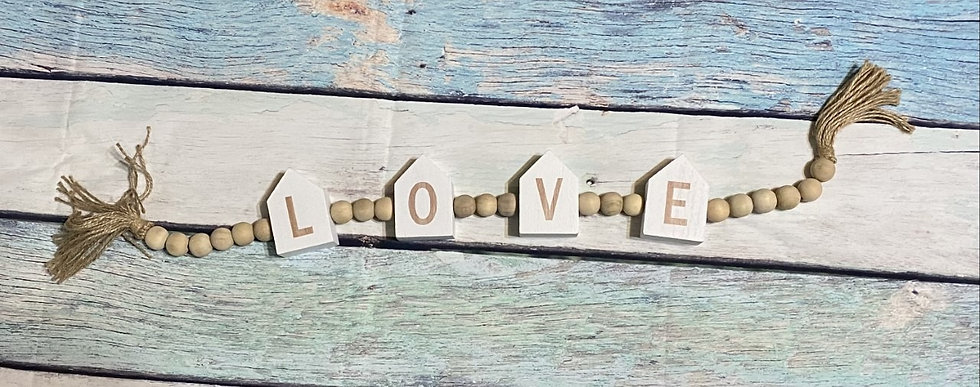 """""""LOVE"""" WOOD BLESSING BEAD STRING TABLETOP SIGN"""