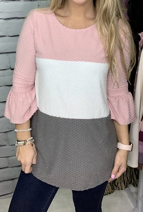 Round Neck 3/4 Bell Sleeves Color Block