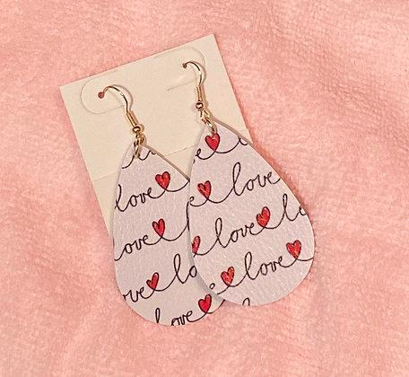 Faux Leather Love Hanging Tear Drop Earrings