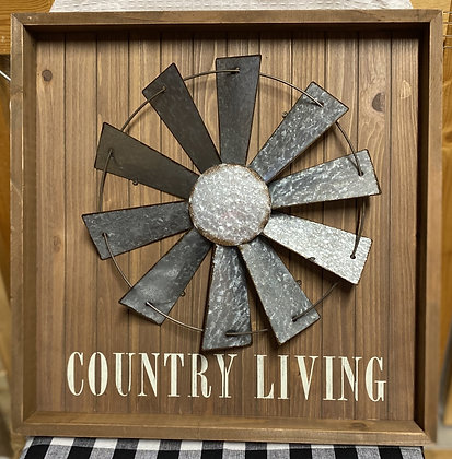 Country Living Windmill Wood Sign