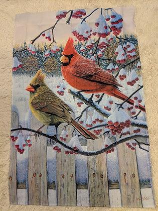 Winter Cardinals Satin Flag