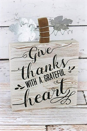 Grateful Heart Block Pumpkin Sign