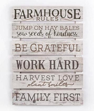 """FARMHOUSE RULES"" PALLET SIGN"