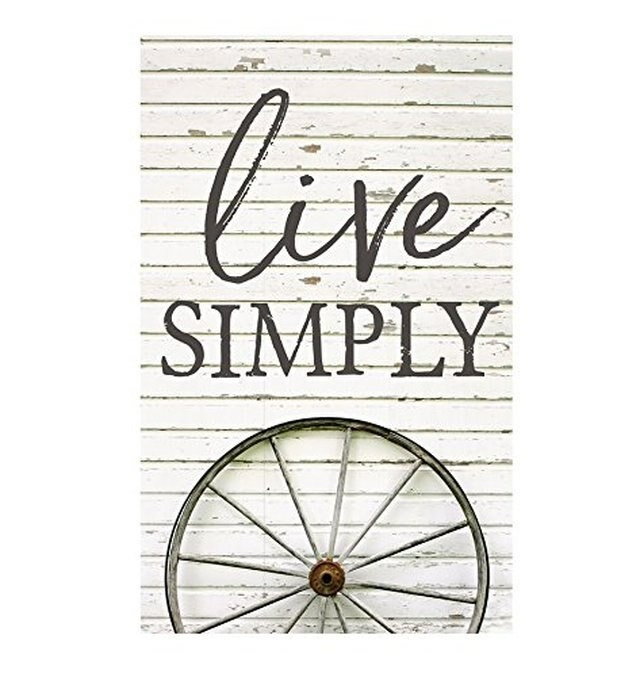 Live Simply Wagon Wheel Wood Pallet Wall Sign