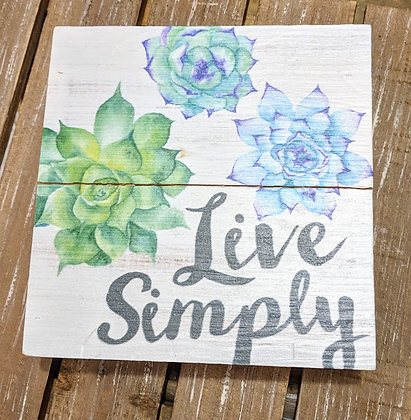 Live simply wooden box sign