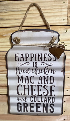16 x 10 Happiness Is Fried Chicken Tin Sign