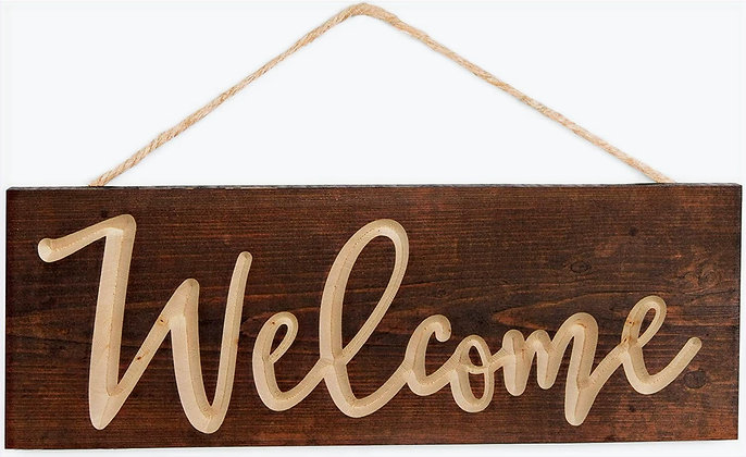 Welcome Carved Hanging Sign