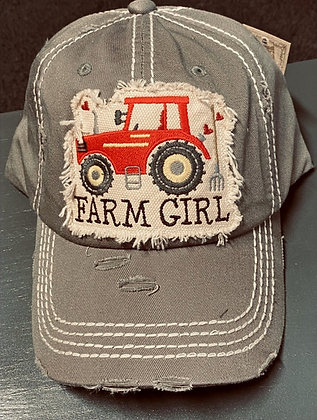 Distressed Steel Gray 'Farm Girl' Cap
