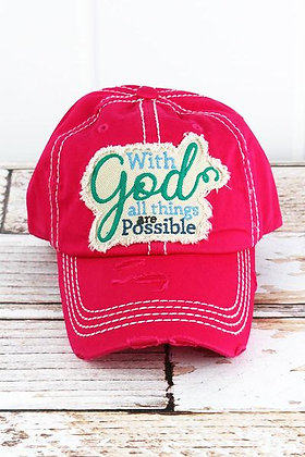 Distressed Hot Pink All Things Possible Cap