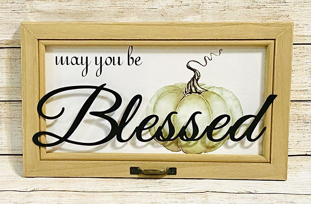 9.5 x 15.75 'BLESSED' PUMPKIN WOOD WALL SIGN