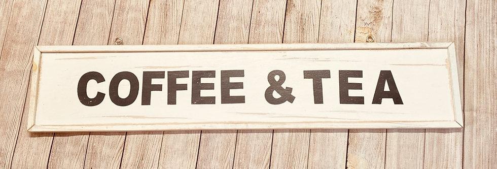 Coffee And Tea Rustic Farmhouse Shop Sign