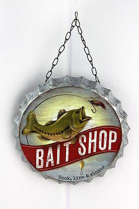 9 x 9 Bait Shop Tin Bottle Cap Wall Sign
