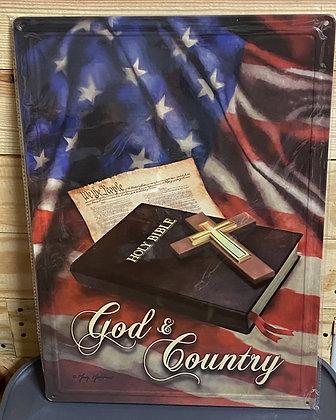 God & Country Tin Sign