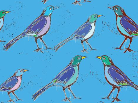 Blue Birds in a Row   available prints o