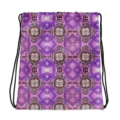 Simbi Veve Pattern Drawstring bag with art by Valerie Noisette