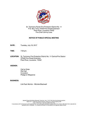 SPECIAL BOARD MEETING AGENDA: TUESDAY, JULY 18, 2017