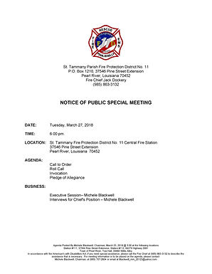 SPECIAL MEETING NOTICE AND AGENDA